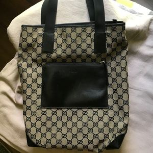 Gucci tote bag black & tan logo